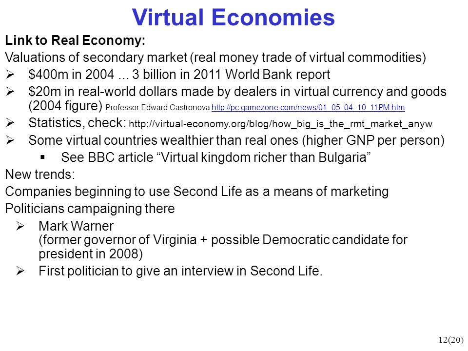 12(20) Virtual Economies Link to Real Economy: Valuations of secondary market (real money trade of virtual commodities) $400m in 2004...