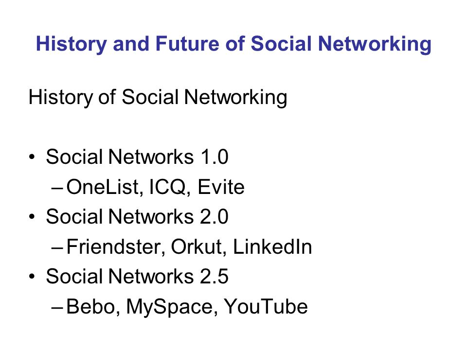 History and Future of Social Networking History of Social Networking Social Networks 1.0 –OneList, ICQ, Evite Social Networks 2.0 –Friendster, Orkut, LinkedIn Social Networks 2.5 –Bebo, MySpace, YouTube