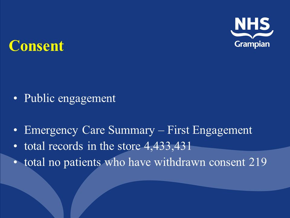 Consent Public engagement Emergency Care Summary – First Engagement total records in the store 4,433,431 total no patients who have withdrawn consent