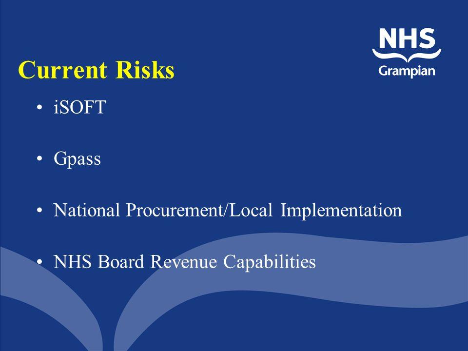 Current Risks iSOFT Gpass National Procurement/Local Implementation NHS Board Revenue Capabilities