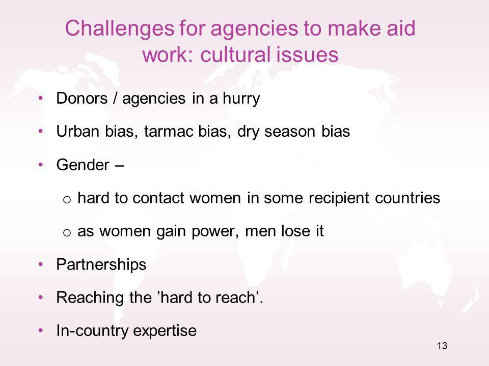 Challenges for agencies to make aid work: cultural issues Donors / agencies in a hurry Urban bias, tarmac bias, dry season bias Gender – o hard to contact women in some recipient countries o as women gain power, men lose it Partnerships Reaching the hard to reach.