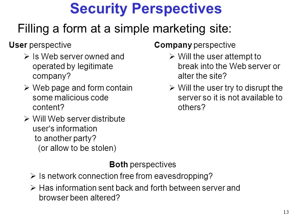 13 Security Perspectives User perspective Is Web server owned and operated by legitimate company.