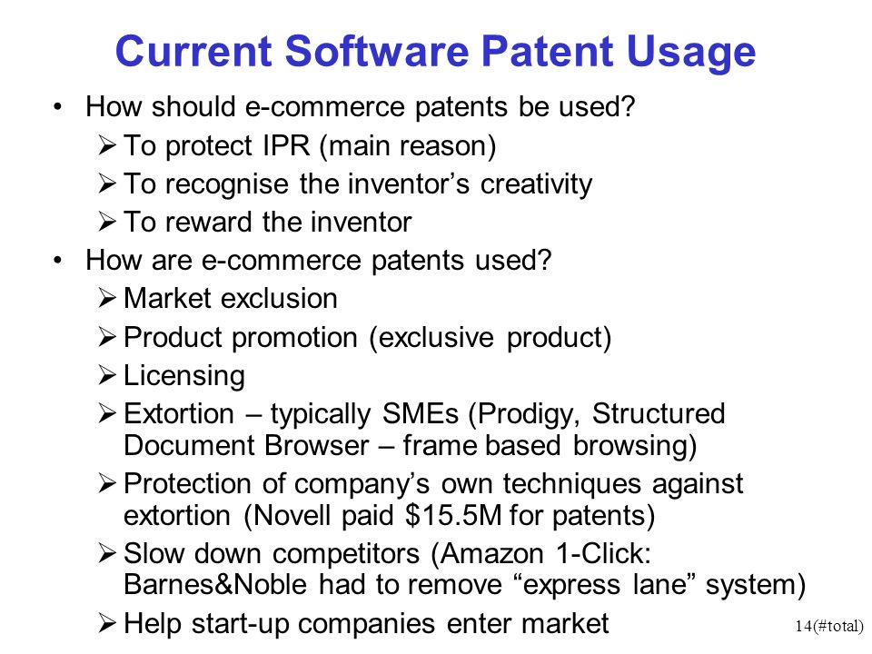 14(#total) Current Software Patent Usage How should e-commerce patents be used.