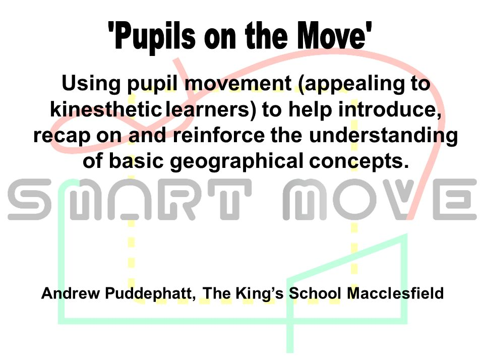Using pupil movement (appealing to kinesthetic learners) to help introduce, recap on and reinforce the understanding of basic geographical concepts.