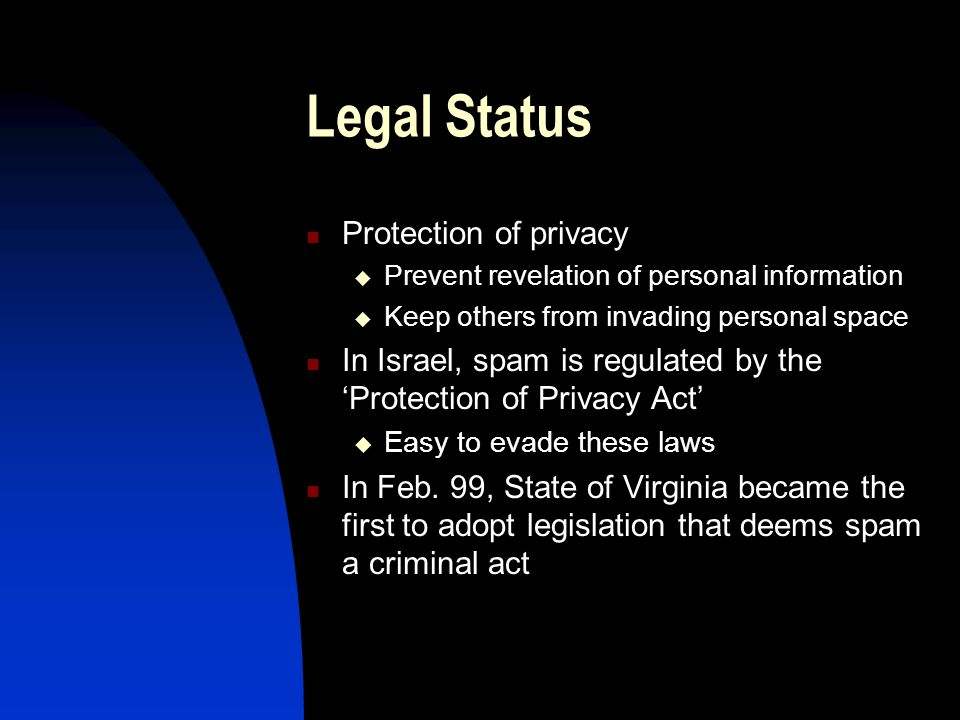 Legal Status Protection of privacy Prevent revelation of personal information Keep others from invading personal space In Israel, spam is regulated by