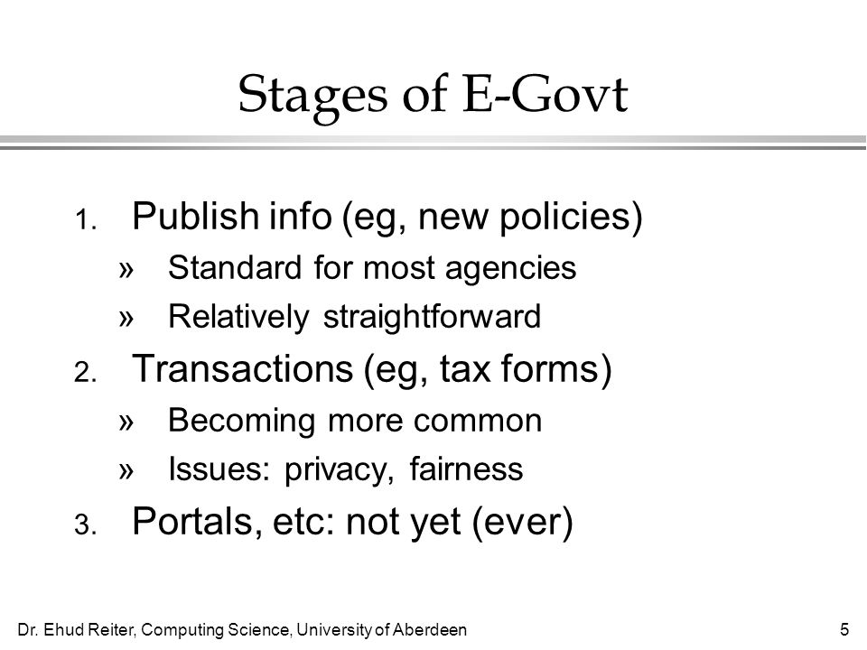5 Stages of E-Govt 1.