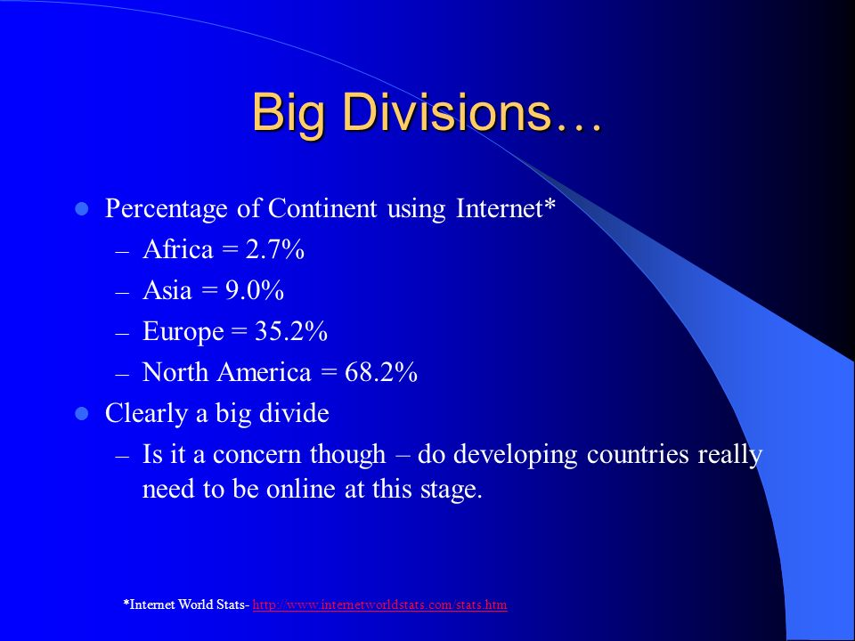 Big Divisions … Percentage of Continent using Internet* – Africa = 2.7% – Asia = 9.0% – Europe = 35.2% – North America = 68.2% Clearly a big divide – Is it a concern though – do developing countries really need to be online at this stage.