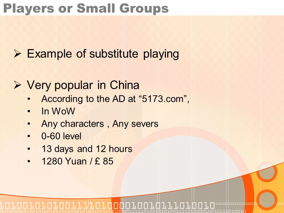 Players or Small Groups Example of substitute playing Very popular in China According to the AD at 5173.com, In WoW Any characters, Any severs 0-60 level 13 days and 12 hours 1280 Yuan / £ 85