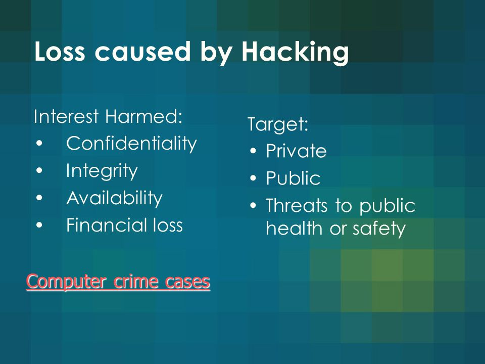 Loss caused by Hacking Interest Harmed: Confidentiality Integrity Availability Financial loss Computer crime cases Computer crime cases Target: Private Public Threats to public health or safety