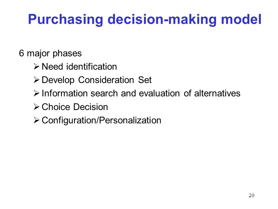 20 Purchasing decision-making model 6 major phases Need identification Develop Consideration Set Information search and evaluation of alternatives Cho