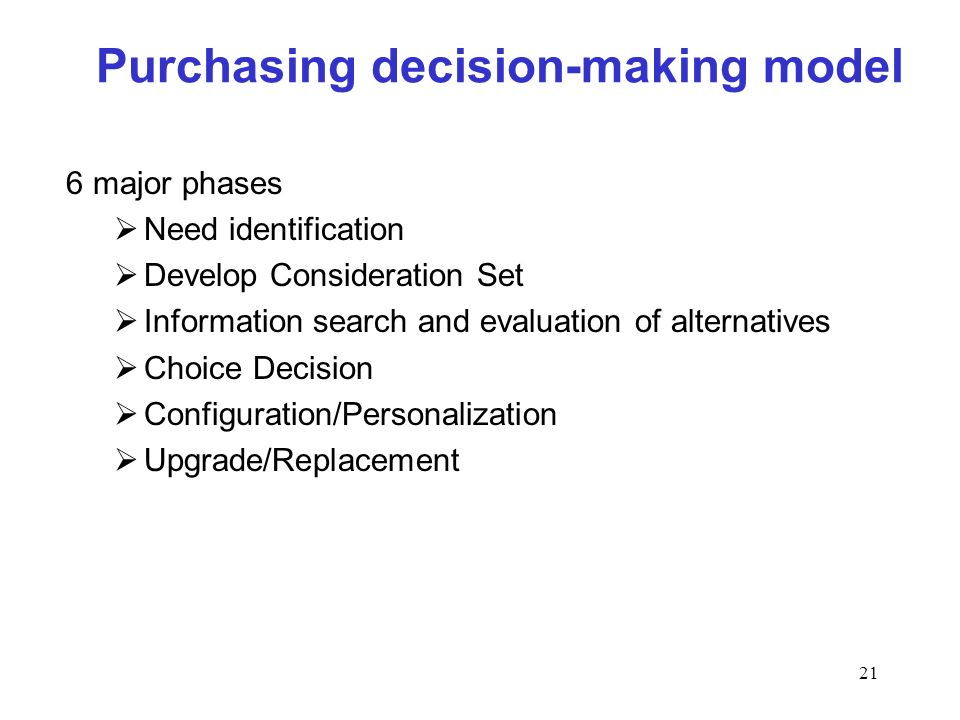 21 Purchasing decision-making model 6 major phases Need identification Develop Consideration Set Information search and evaluation of alternatives Choice Decision Configuration/Personalization Upgrade/Replacement