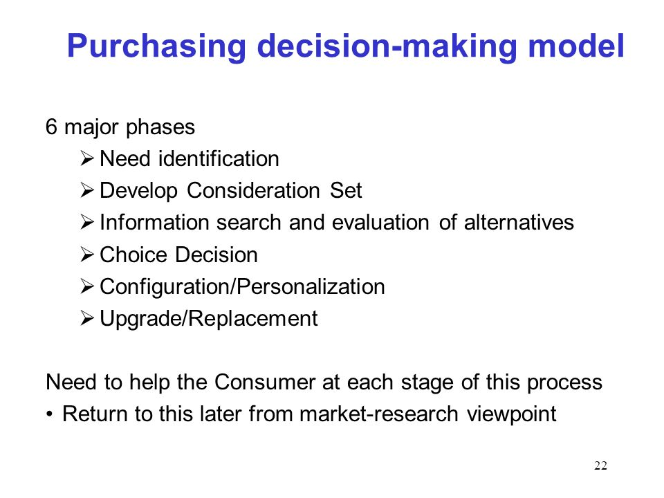 22 Purchasing decision-making model 6 major phases Need identification Develop Consideration Set Information search and evaluation of alternatives Cho