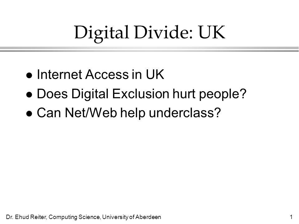 Dr. Ehud Reiter, Computing Science, University of Aberdeen1 Digital Divide: UK l Internet Access in UK l Does Digital Exclusion hurt people? l Can Net