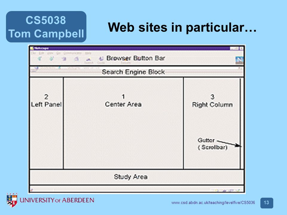 CS5038 Tom Campbell www.csd.abdn.ac.uk/teaching/levelfive/CS5036 13 Web sites in particular…