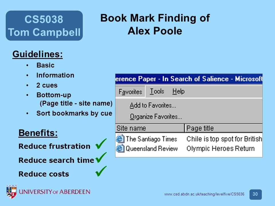 CS5038 Tom Campbell www.csd.abdn.ac.uk/teaching/levelfive/CS5036 30 Book Mark Finding of Alex Poole Guidelines: Basic Information 2 cues Bottom-up (Page title - site name) Sort bookmarks by cue Benefits: Reduce frustration Reduce search time Reduce costs