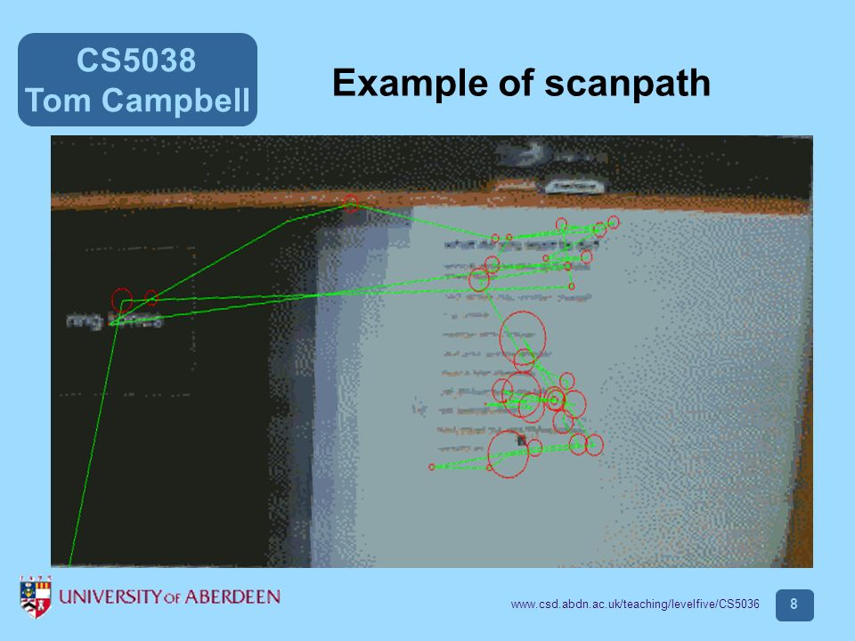 CS5038 Tom Campbell www.csd.abdn.ac.uk/teaching/levelfive/CS5036 8 Example of scanpath