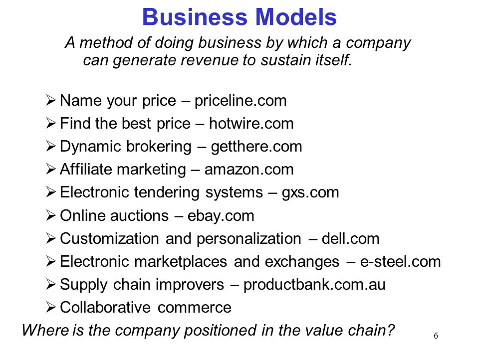 6 Business Models Name your price – priceline.com Find the best price – hotwire.com Dynamic brokering – getthere.com Affiliate marketing – amazon.com