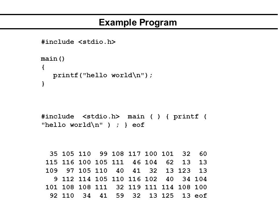 Example Program #include main() { printf( hello world\n ); } 35 105 110 99 108 117 100 101 32 60 115 116 100 105 111 46 104 62 13 13 109 97 105 110 40 41 32 13 123 13 9 112 114 105 110 116 102 40 34 104 101 108 108 111 32 119 111 114 108 100 92 110 34 41 59 32 13 125 13 eof #include main ( ) { printf ( hello world\n ) ; } eof