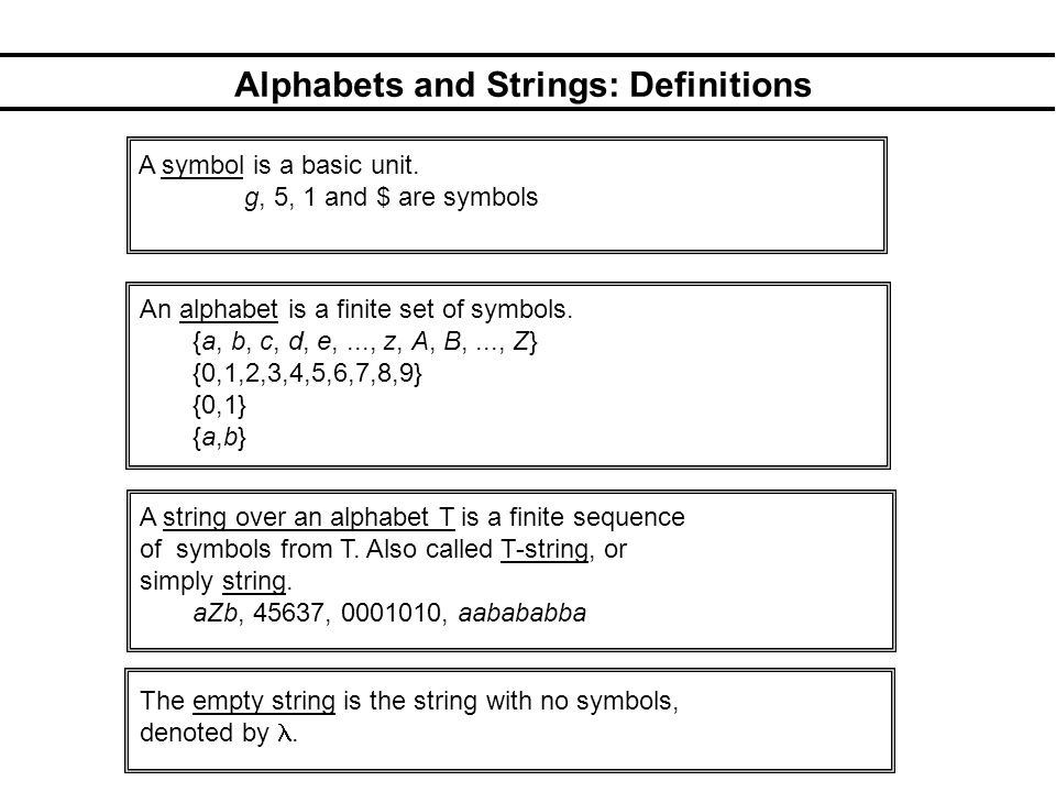 Alphabets and Strings: Definitions A symbol is a basic unit.
