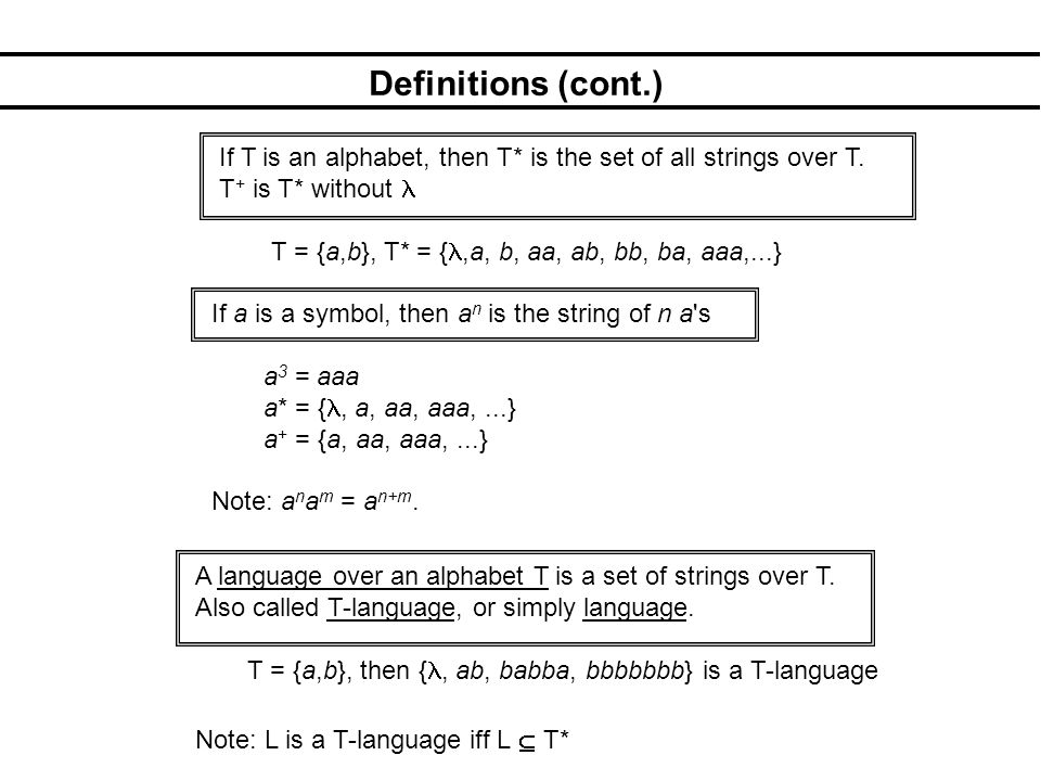 Definitions (cont.) If T is an alphabet, then T* is the set of all strings over T.