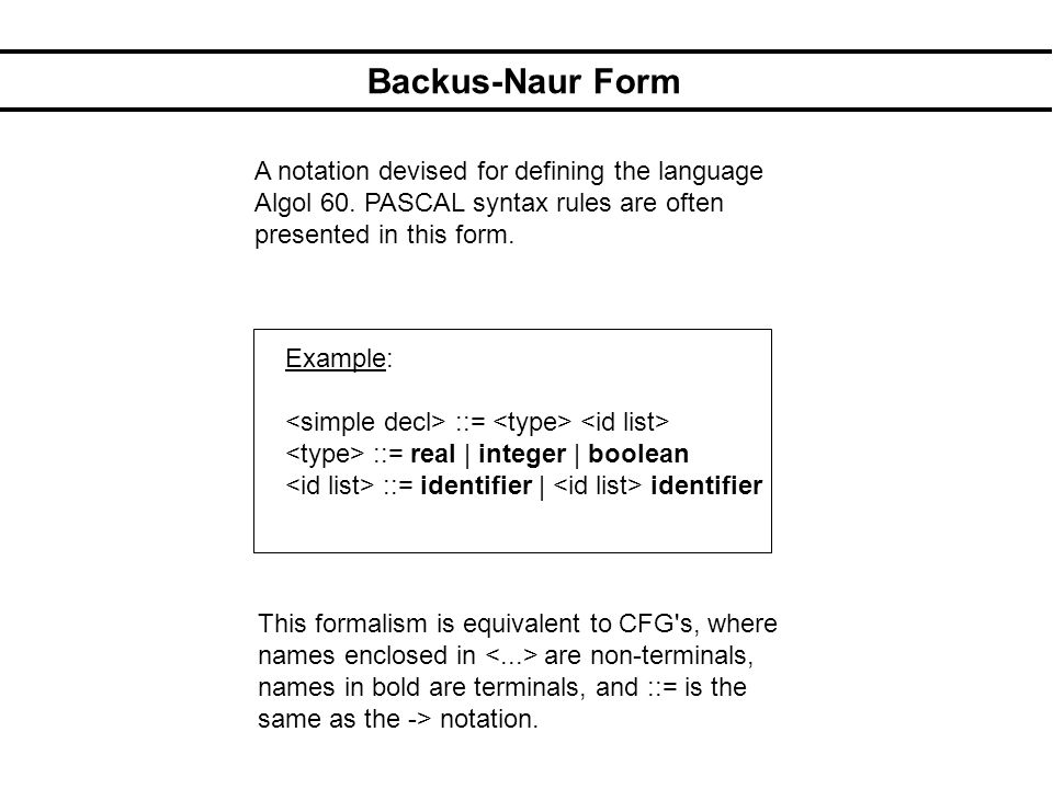 Backus-Naur Form A notation devised for defining the language Algol 60. PASCAL syntax rules are often presented in this form. Example: ::= ::= real |