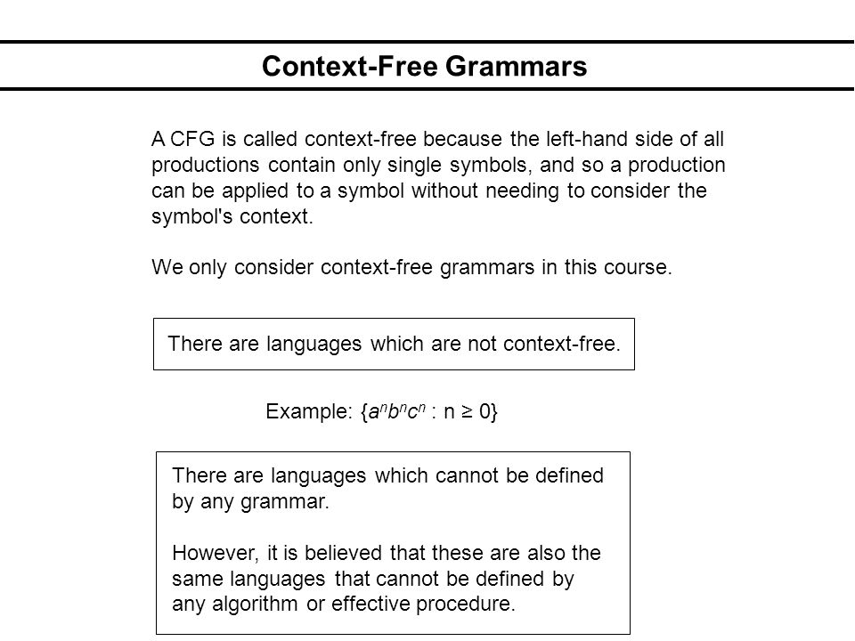 Context-Free Grammars A CFG is called context-free because the left-hand side of all productions contain only single symbols, and so a production can
