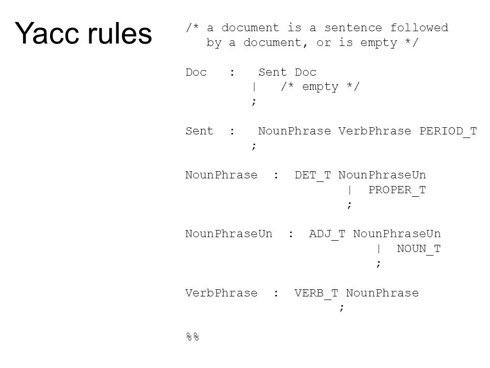 Yacc rules /* a document is a sentence followed by a document, or is empty */ Doc : Sent Doc | /* empty */ ; Sent : NounPhrase VerbPhrase PERIOD_T ; N