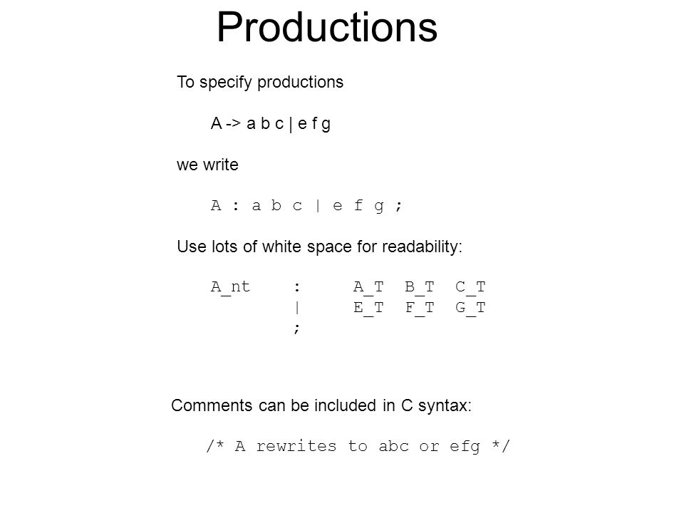 Productions To specify productions A -> a b c | e f g we write A : a b c | e f g ; Use lots of white space for readability: A_nt : A_T B_T C_T | E_T F