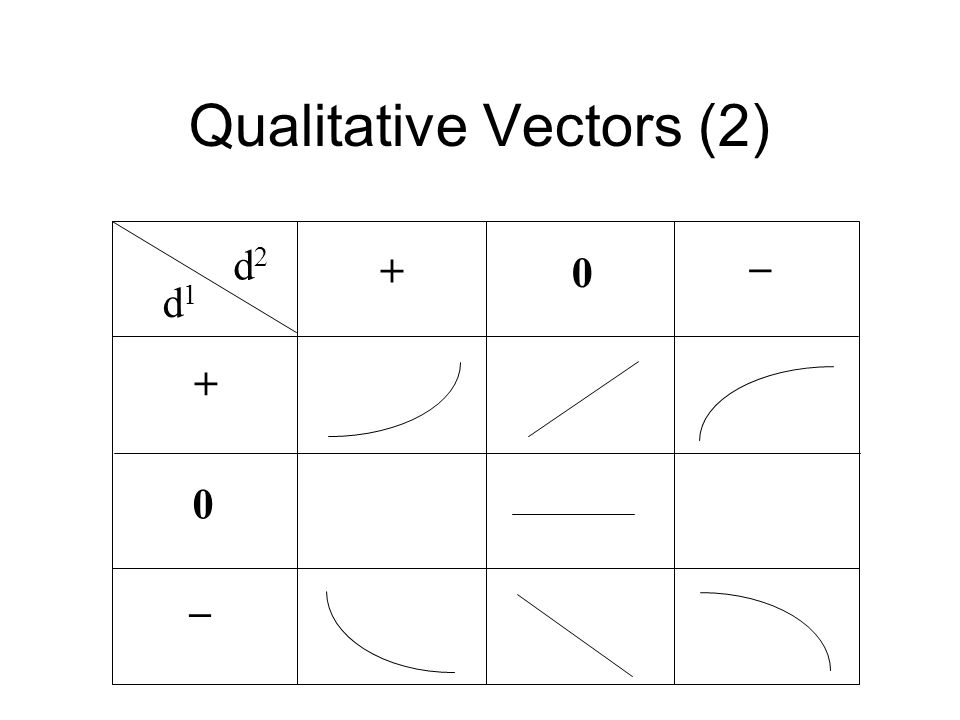 Qualitative Vectors (2) + 0 0 + _ _ d1d1 d2d2