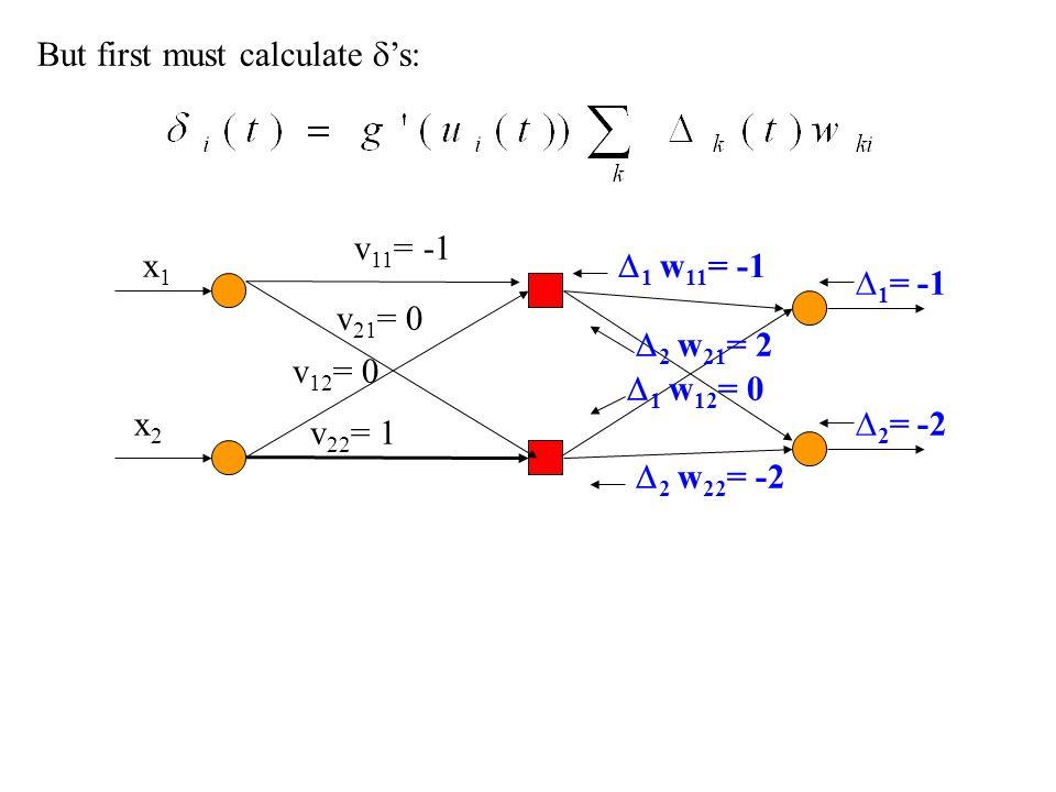 But first must calculate s: 1 = -1 2 = -2 x1x1 x2x2 v 11 = -1 v 21 = 0 v 12 = 0 v 22 = 1 1 w 11 = -1 2 w 21 = 2 1 w 12 = 0 2 w 22 = -2