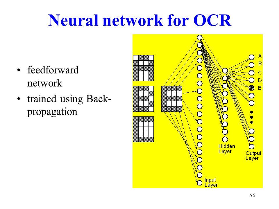 56 Neural network for OCR feedforward network trained using Back- propagation