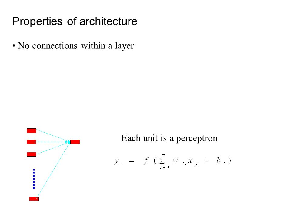 Properties of architecture No connections within a layer Each unit is a perceptron