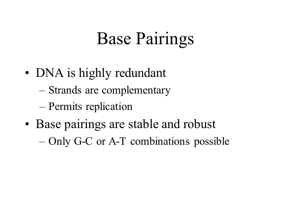 Base Pairings DNA is highly redundant –Strands are complementary –Permits replication Base pairings are stable and robust –Only G-C or A-T combinations possible
