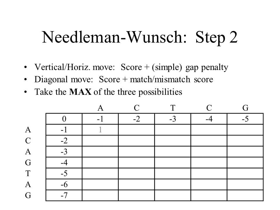 Needleman-Wunsch: Step 2 Vertical/Horiz.
