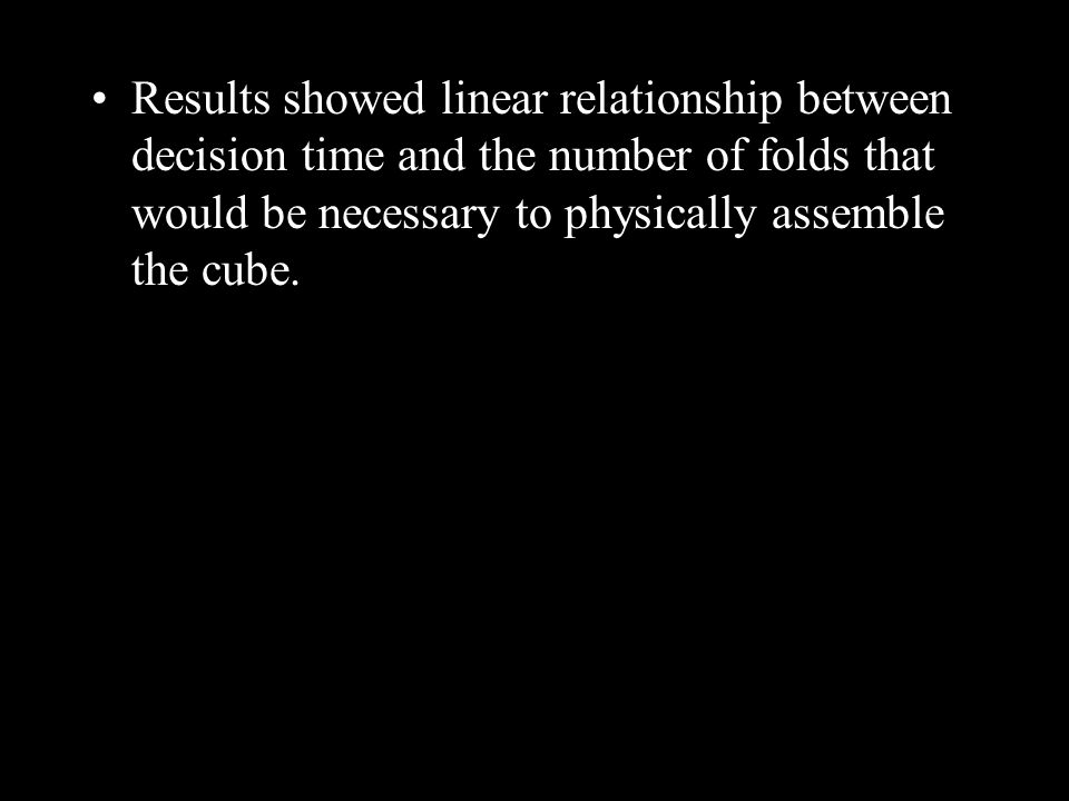 Results showed linear relationship between decision time and the number of folds that would be necessary to physically assemble the cube.