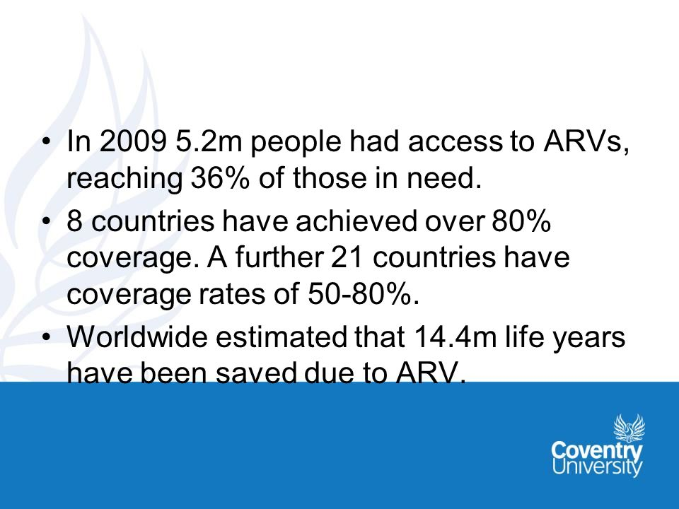 In m people had access to ARVs, reaching 36% of those in need.