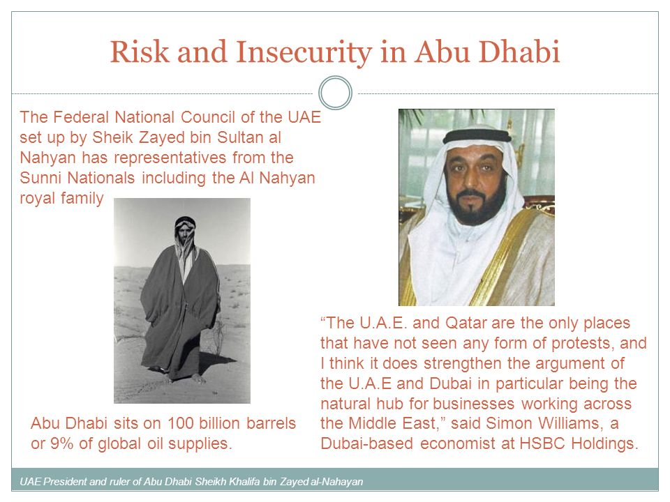 Risk and Insecurity in Abu Dhabi Abu Dhabi sits on 100 billion barrels or 9% of global oil supplies. The Federal National Council of the UAE set up by