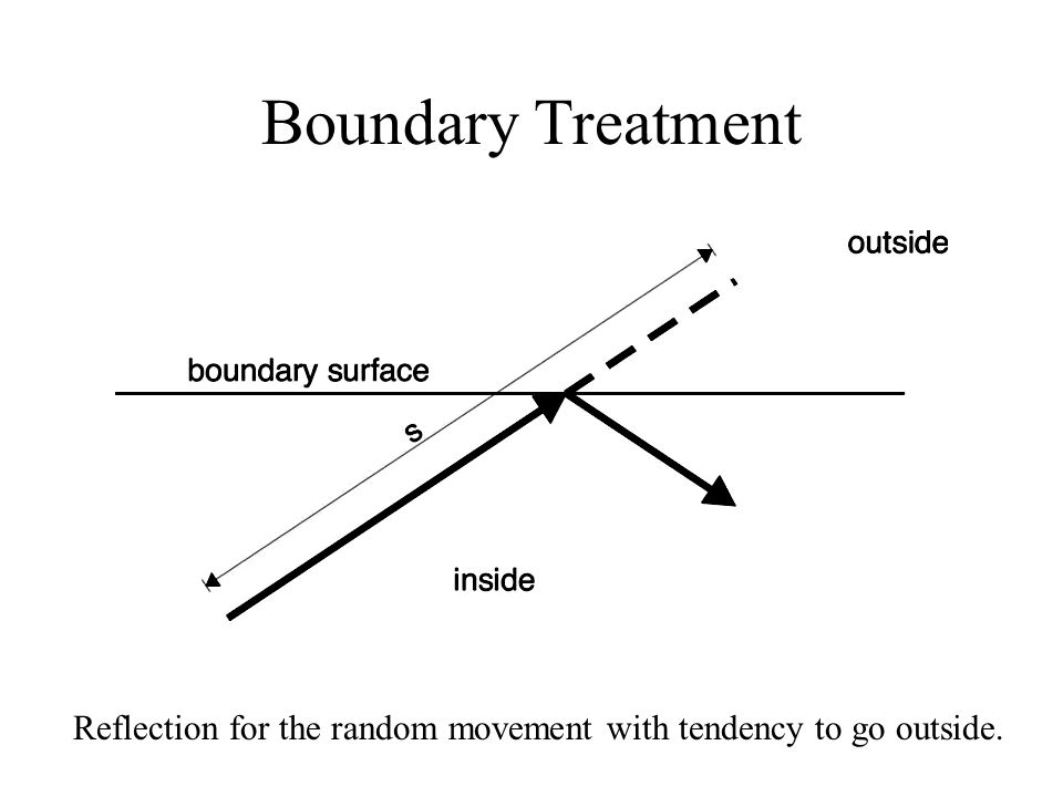 Boundary Treatment Reflection for the random movement with tendency to go outside.