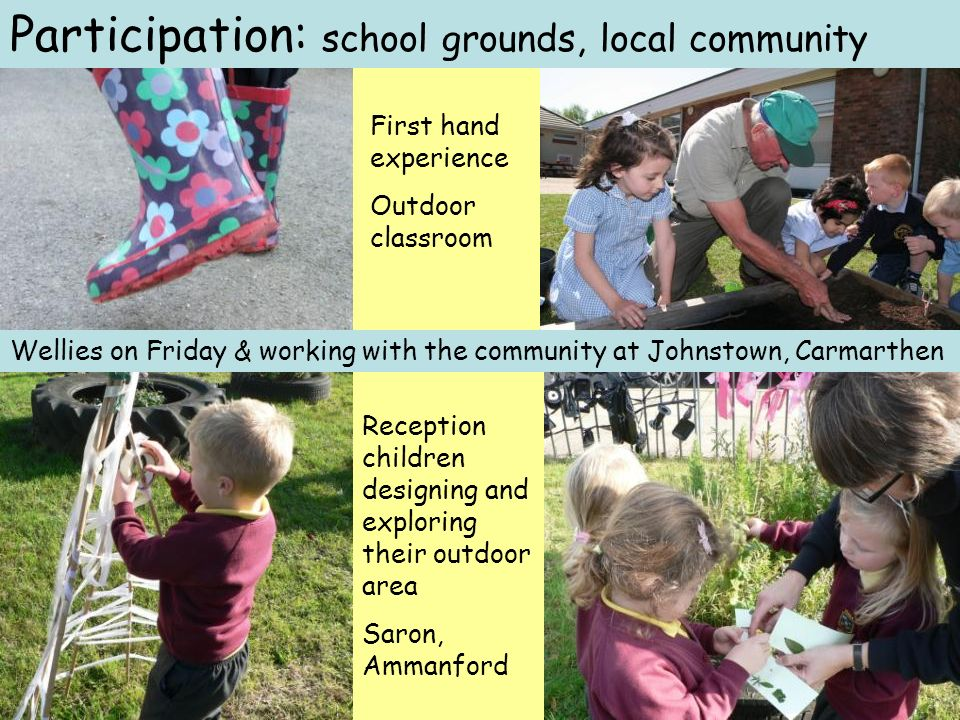 Wellies on Friday & working with the community at Johnstown, Carmarthen Reception children designing and exploring their outdoor area Saron, Ammanford Participation: school grounds, local community First hand experience Outdoor classroom