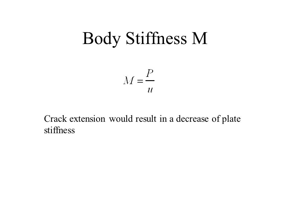 Body Stiffness M Crack extension would result in a decrease of plate stiffness