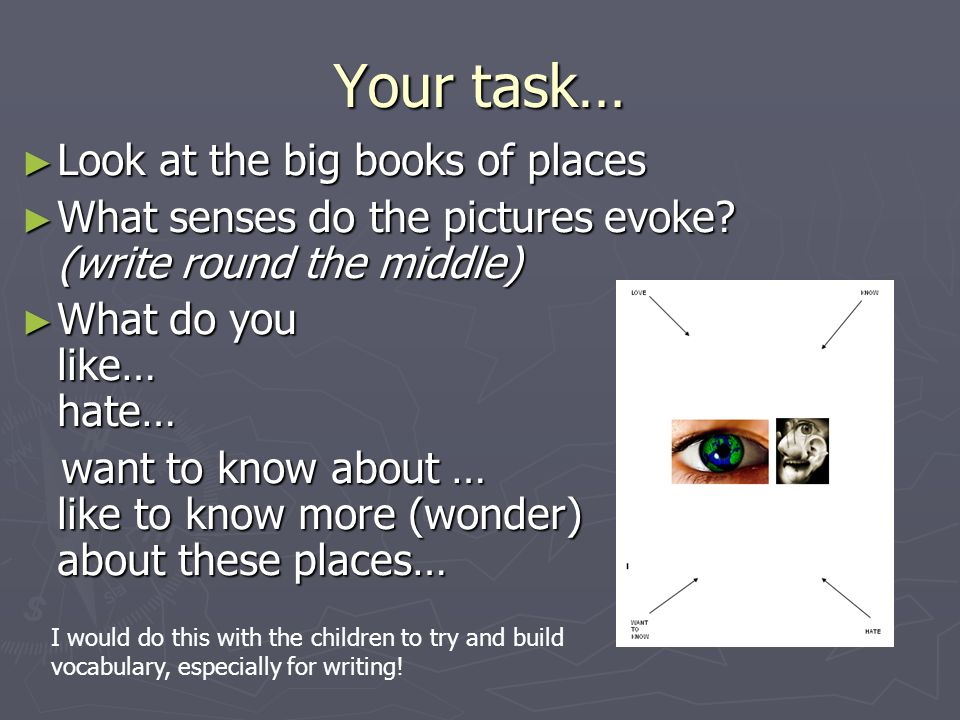 Your task… Look at the big books of places Look at the big books of places What senses do the pictures evoke? (write round the middle) What senses do