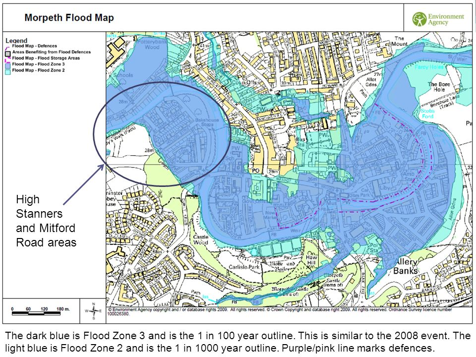 The dark blue is Flood Zone 3 and is the 1 in 100 year outline. This is similar to the 2008 event. The light blue is Flood Zone 2 and is the 1 in 1000