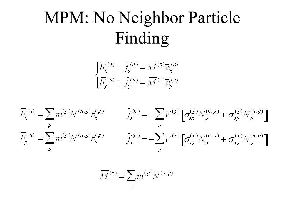 MPM: No Neighbor Particle Finding