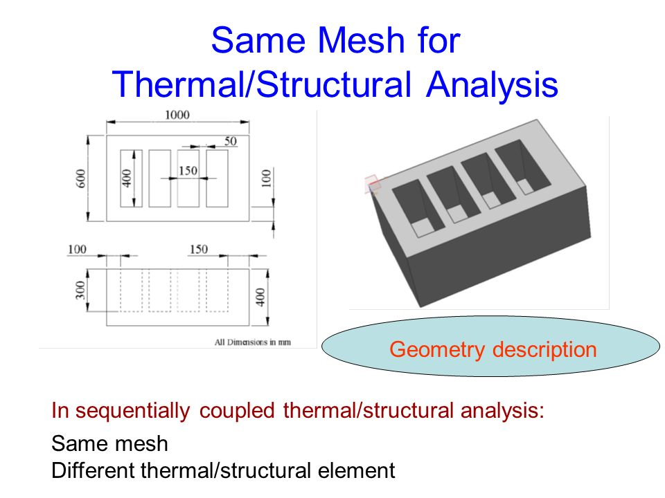 Same Mesh for Thermal/Structural Analysis Same mesh Different thermal/structural element In sequentially coupled thermal/structural analysis: Geometry description