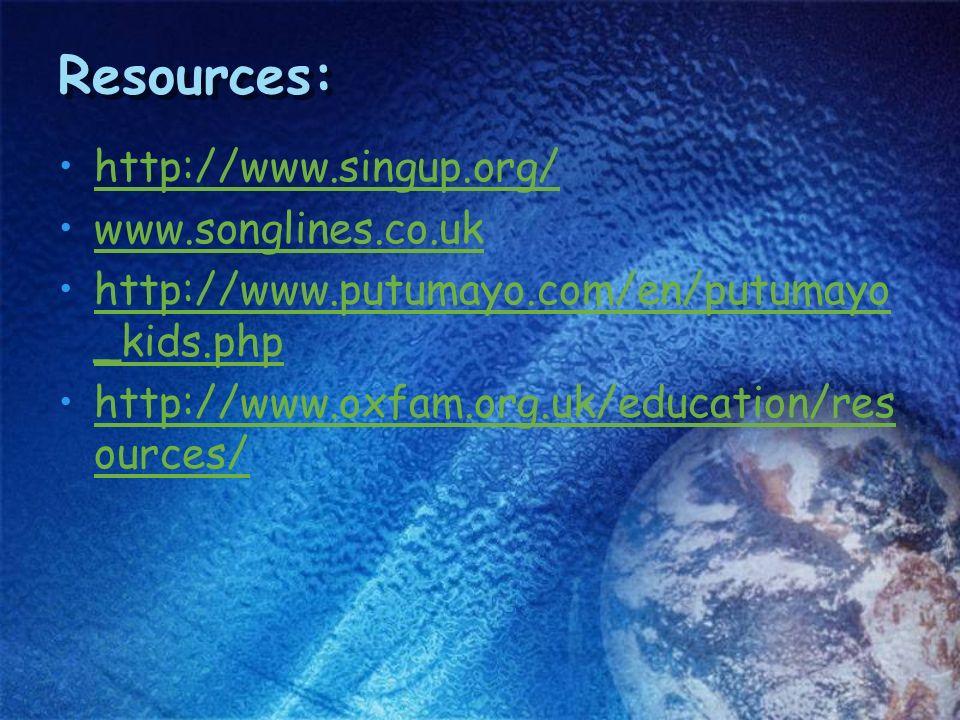 http://www.singup.org/ www.songlines.co.uk http://www.putumayo.com/en/putumayo _kids.phphttp://www.putumayo.com/en/putumayo _kids.php http://www.oxfam.org.uk/education/res ources/http://www.oxfam.org.uk/education/res ources/