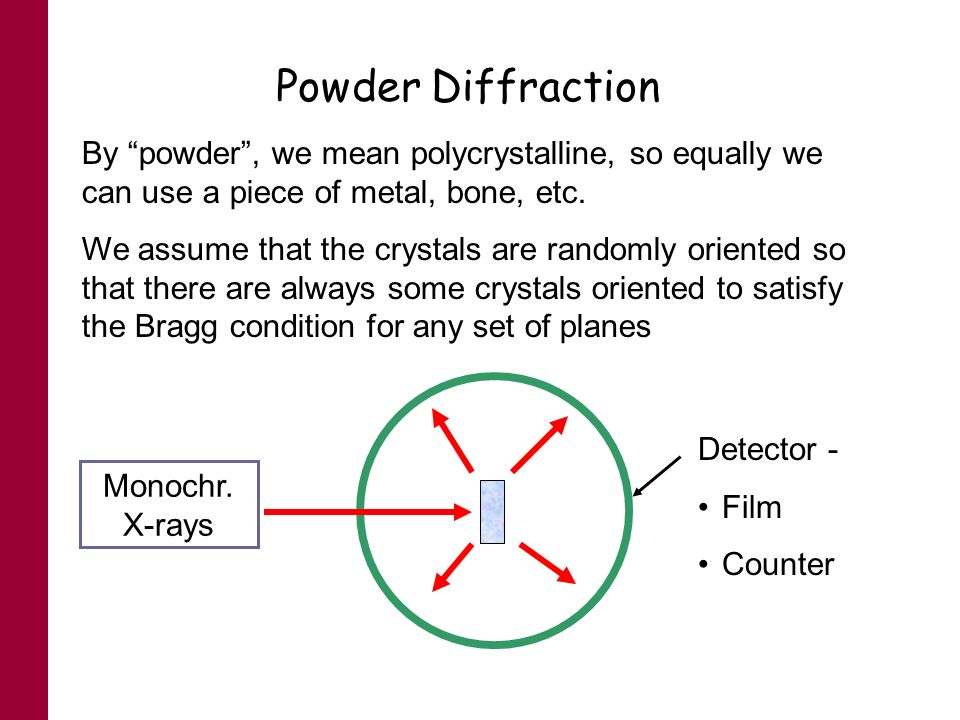 Powder Diffraction By powder, we mean polycrystalline, so equally we can use a piece of metal, bone, etc. We assume that the crystals are randomly ori
