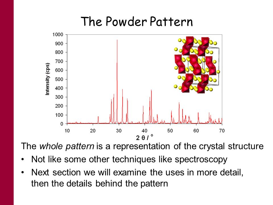 The Powder Pattern The whole pattern is a representation of the crystal structure Not like some other techniques like spectroscopy Next section we wil
