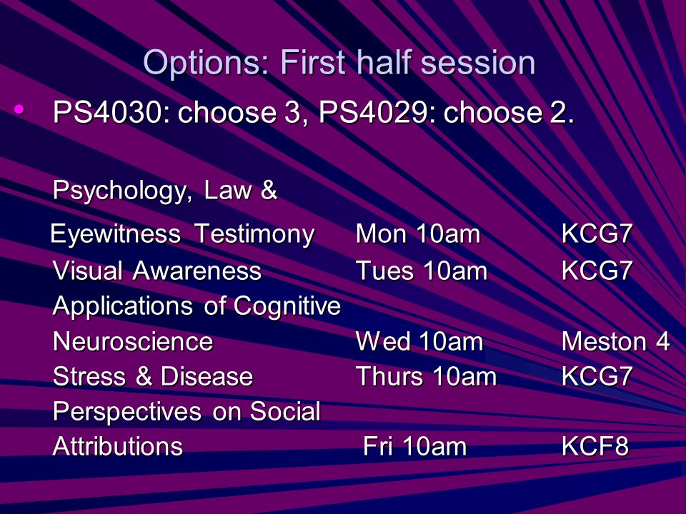 Options: First half session PS4030: choose 3, PS4029: choose 2. PS4030: choose 3, PS4029: choose 2. Psychology, Law & Eyewitness Testimony Mon 10amKCG