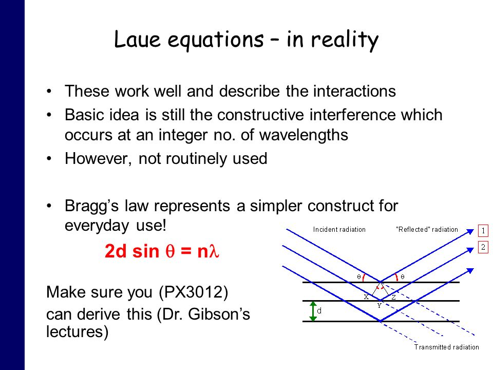 Laue equations – in reality These work well and describe the interactions Basic idea is still the constructive interference which occurs at an integer no.
