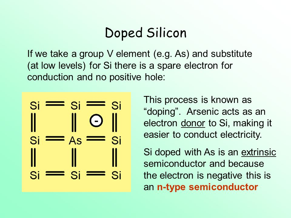 Doped Silicon If we take a group V element (e.g.